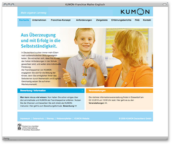 KUMON Franchise-Website